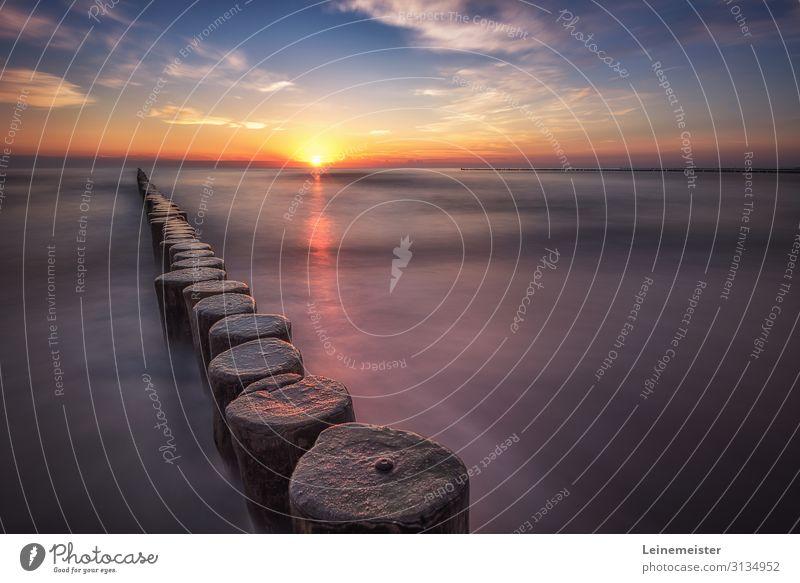 Sonnenaufgang am Strand Erholung ruhig Schwimmen & Baden Wellen Umwelt Natur Landschaft Wasser Himmel Wolken Sonnenuntergang Küste Ostsee Meer Koserow