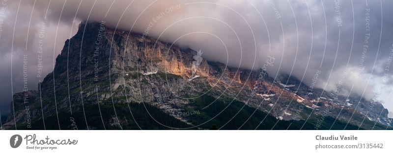 Sonnenuntergang über einem bewölkten Bergrücken Landschaft Wolken Sonnenaufgang Sonnenlicht Berge u. Gebirge Eiger Jungfrau (Berg) Stimmung friedlich