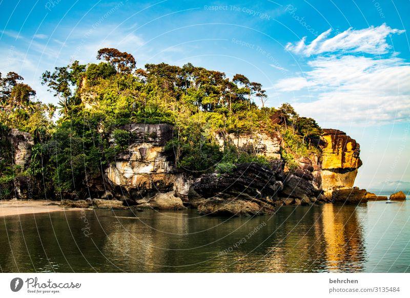 wenn die sonne aufgeht Ferien & Urlaub & Reisen Tourismus Ausflug Abenteuer Ferne Freiheit Umwelt Natur Landschaft Wasser Himmel Wolken Baum Urwald Felsen Küste