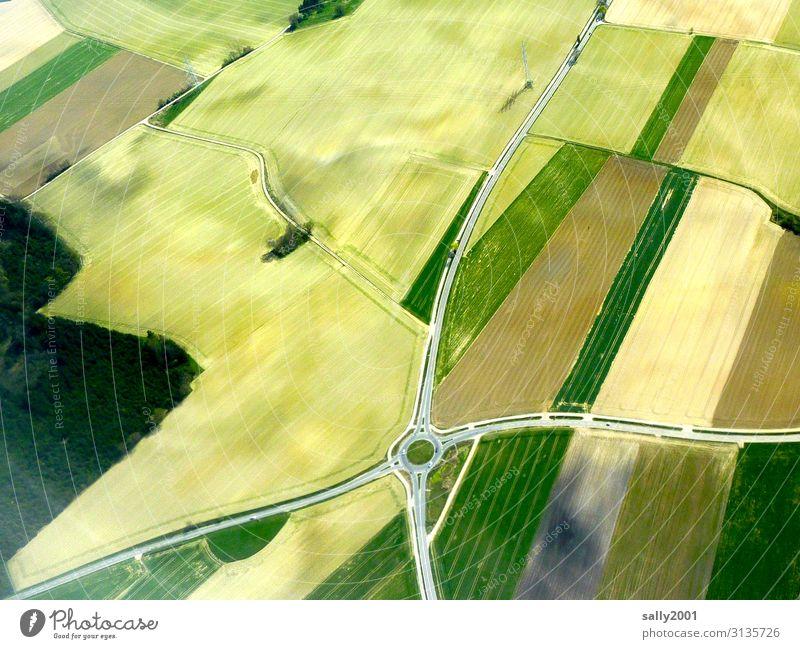 Kreisverkehr... Landstraße Feld Landwirtschaft Vogelperspektive Kreuzung Flurbereinigung flurbereinigt Anbau Getreidefeld Straße Kreisel grün hellgrün