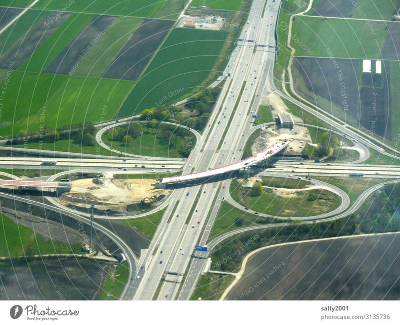 Baustelle... Autobahn Autobahnkreuz Kreuzung Verkehr bauen erneuern Ausfahrt Verkehrswege Vogelperspektive Straßenverkehr Deutschland Brücke Brückenbauarbeiten