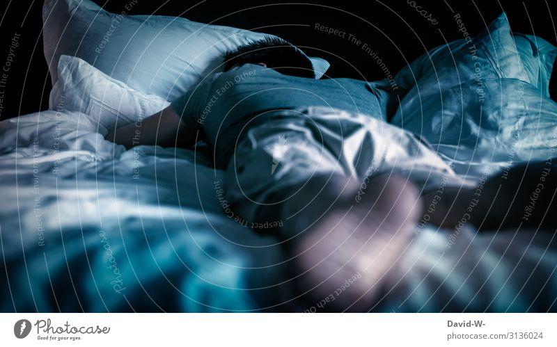 Zzz... Mensch maskulin Junger Mann Jugendliche Erwachsene Leben 1 Kunst schlafen Frustration Müdigkeit Erschöpfung träumen dunkel Migräne Bett Bettwäsche Kissen