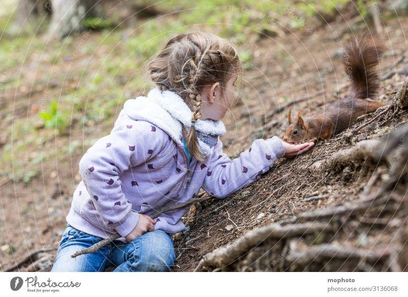 Eichhörnchen füttern #3 Ferien & Urlaub & Reisen Ausflug Kind Mensch feminin Kleinkind Mädchen Kindheit Hand 1 3-8 Jahre Natur Tier Baum Wald Wildtier Fressen