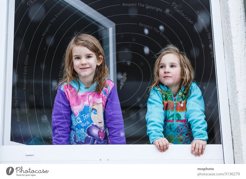 Der erste Schnee Lifestyle Gesicht Winter Winterurlaub Haus Kind Schulkind Mensch feminin Kleinkind Mädchen Geschwister Schwester Kindheit 2 3-8 Jahre Natur