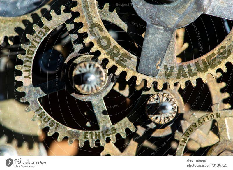 Zahnräder und Texte Texte Kern, Werte, Vertrauen, Ethik, Zuverlässigkeit Erfolg Industrie Kapitalwirtschaft Unternehmen Maschine Stahl Wachstum seriös