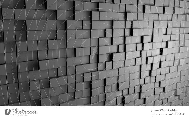 graue 3D Würfel Dekoration & Verzierung Beton Stahl Kunststoff Bewegung komplex Kontakt Perspektive Unendlichkeit dreidimensional Hintergrundbild Täuschung