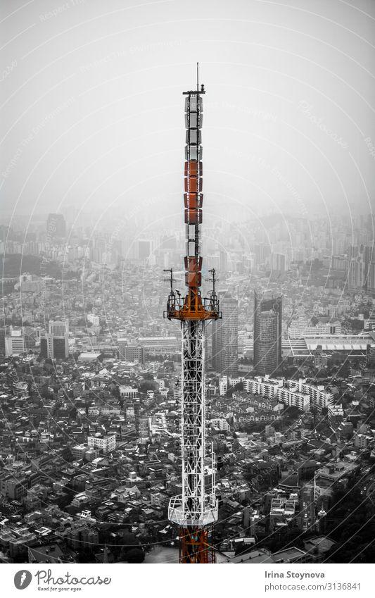 Seoul-Turm Stadt Hauptstadt Skyline Bauwerk Architektur Wahrzeichen Straße Straßenkreuzung ästhetisch eckig orange schwarz weiß Süd Korea Gedeckte Farben