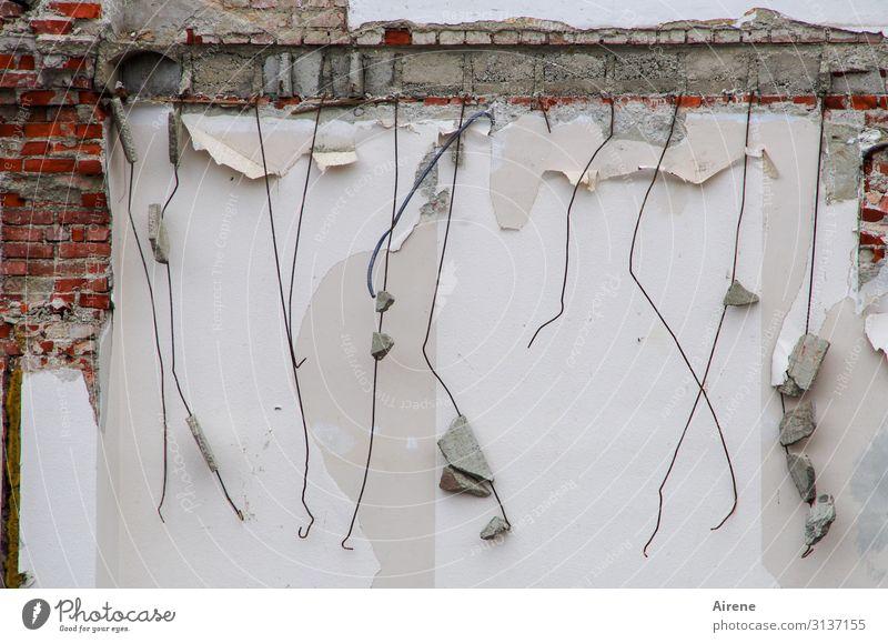Weltschmerz | nichts ist für die Ewigkeit Haus Mauer Wand Abrissgebäude Demontage abrissreif Stahlträger Rost Backstein Linie alt kaputt trist grau rot weiß