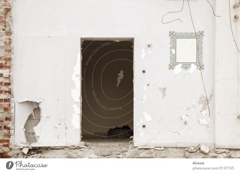 Firlefanz | bis zum bitteren Ende Häusliches Leben Renovieren Dekoration & Verzierung Menschenleer Mauer Wand Tür Abrissgebäude Demontage abrissreif Putz
