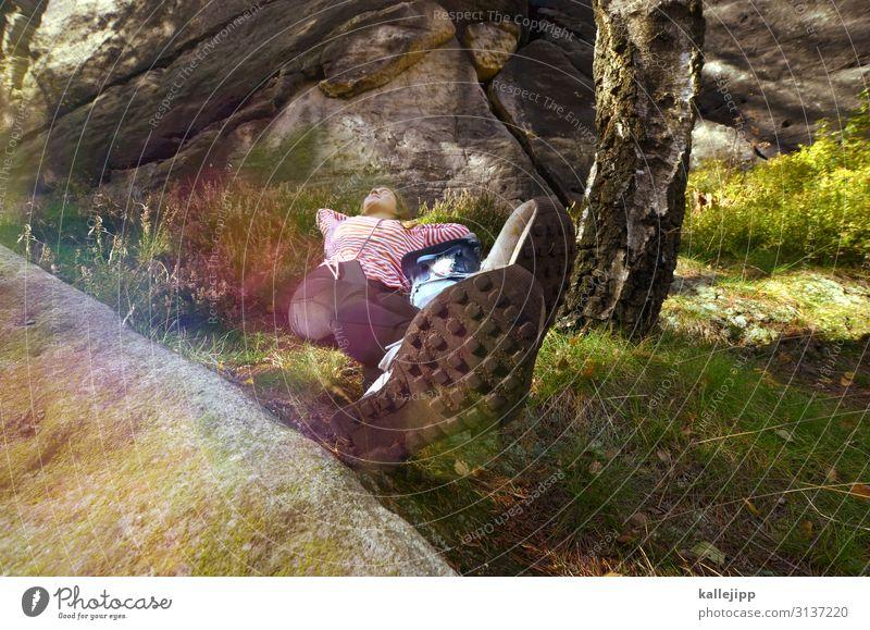päuschen wandern feminin Junge Frau Jugendliche Körper Beine Fuß 1 Mensch Umwelt Natur Landschaft Pflanze Tier Gras Sträucher Moos Wiese Felsen schlafen Pause