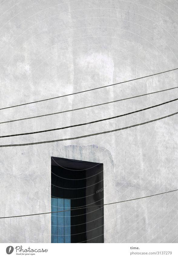 Seilschaften #26 Technik & Technologie Energiewirtschaft Kabel Hochspannungsleitung Leitung Elektrizität Haus Bauwerk Gebäude Mauer Wand Fassade Tür Eingang