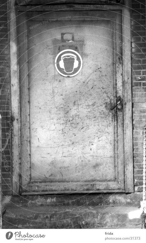 Ohrenschützer Gebäude Tür Industrie Piktogramm Industriegelände