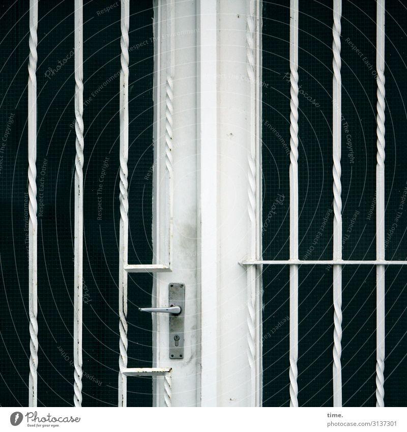 Entrees (16) Haus Tür Griff Gitter Glas Metall Linie Streifen bedrohlich dunkel eckig Sicherheit Schutz Ausdauer standhaft Ordnungsliebe Neugier Überraschung