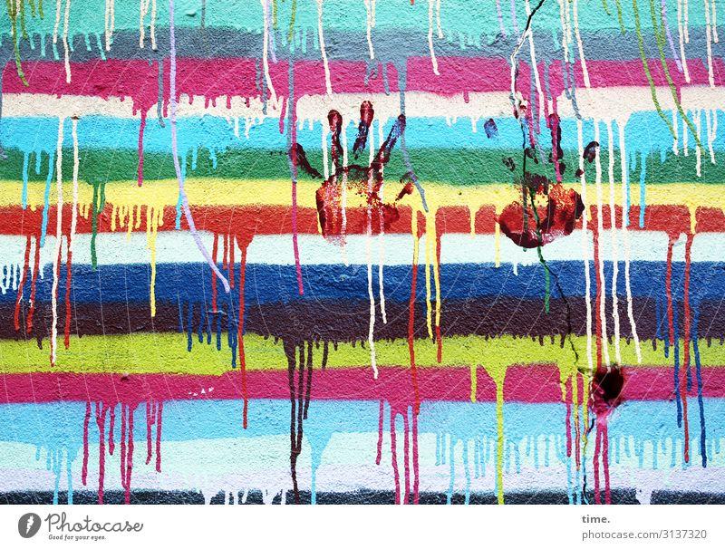 colour up your life (IV) Kunst Kunstwerk Gemälde Farbe Farbstoff Farbenspiel Farbenwelt Mauer Wand Farbverlauf Abdruck Hand Beton Graffiti Linie Streifen