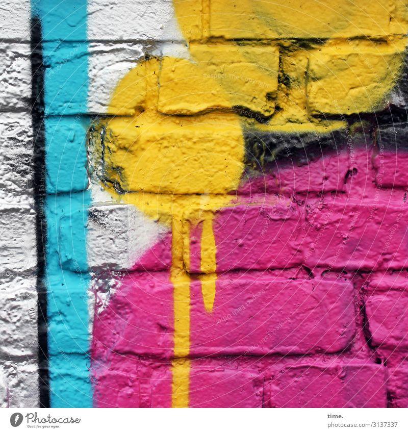 colour up your life (III) Kunst Kunstwerk Gemälde Mauer Wand Fassade Backstein Backsteinwand Farbe Farbstoff Farbenspiel Farbenwelt Kugel Linie Streifen