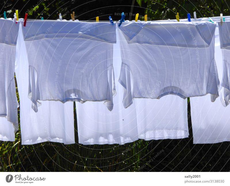 Weißwaschtag... weiß Bekleidung Sauberkeit T-Shirt hängen Wäsche waschen trocknen Unterwäsche Wäscheleine aufhängen Haushaltsführung Wäscheklammern
