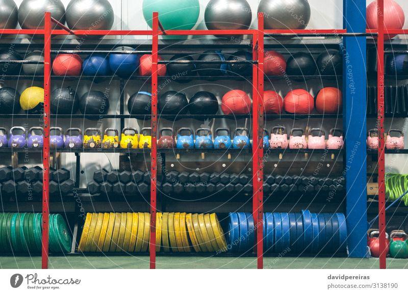 Regale mit Sportgeräten im Innenbereich Ball Fitness Sporthalle Kettlebells Medizinball Hantel Hantelscheiben Pilatesball Kasten Wandkugel durchkreuzen passen