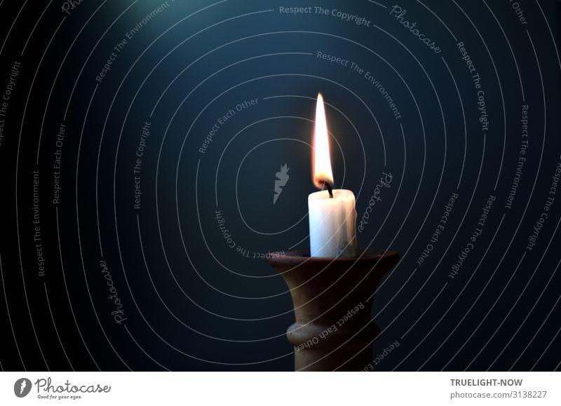 Einsames Kerzenlicht Lifestyle harmonisch Wohlgefühl Erholung ruhig Meditation Häusliches Leben Wohnung Dekoration & Verzierung Kerzenschein Kerzendocht