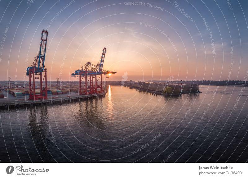 Containerbrücken im Sonnenuntergang Himmel Landschaft Hintergrundbild Wärme Wasserfahrzeug Horizont Schönes Wetter Brücke Industrie Hamburg Hafen