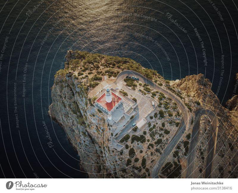 Cap Formentor aus der Luft Ferien & Urlaub & Reisen Tourismus Sightseeing Landschaft Sonne Sommer Klima Schönes Wetter Wärme Dürre Felsen Schlucht Wellen Küste