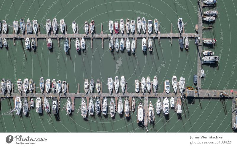 kleiner Jachthafen von oben Wasser Schönes Wetter See Fluss Verkehrsmittel Bootsfahrt Fischerboot Sportboot Motorboot Segelboot Segelschiff Hafen Anker Seil