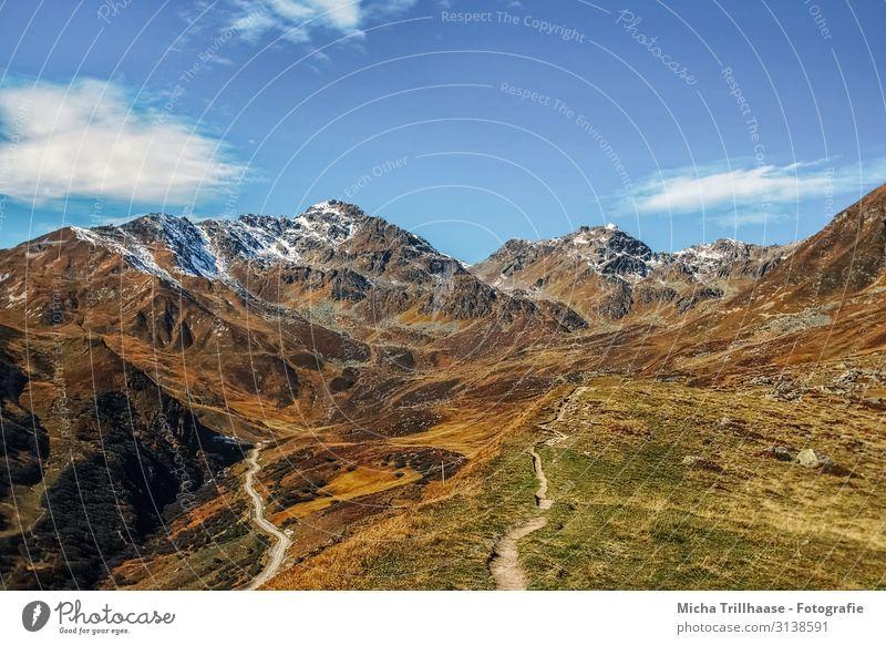 Alpenpanorama im Herbst Himmel Ferien & Urlaub & Reisen Natur blau grün weiß Landschaft Erholung Wolken Berge u. Gebirge gelb natürlich Tourismus orange braun