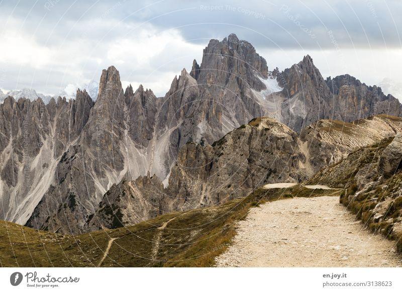 Rückweg Ferien & Urlaub & Reisen Tourismus Ausflug Ferne Expedition Berge u. Gebirge wandern Natur Landschaft Wolken Klima Klimawandel Felsen Alpen Dolomiten