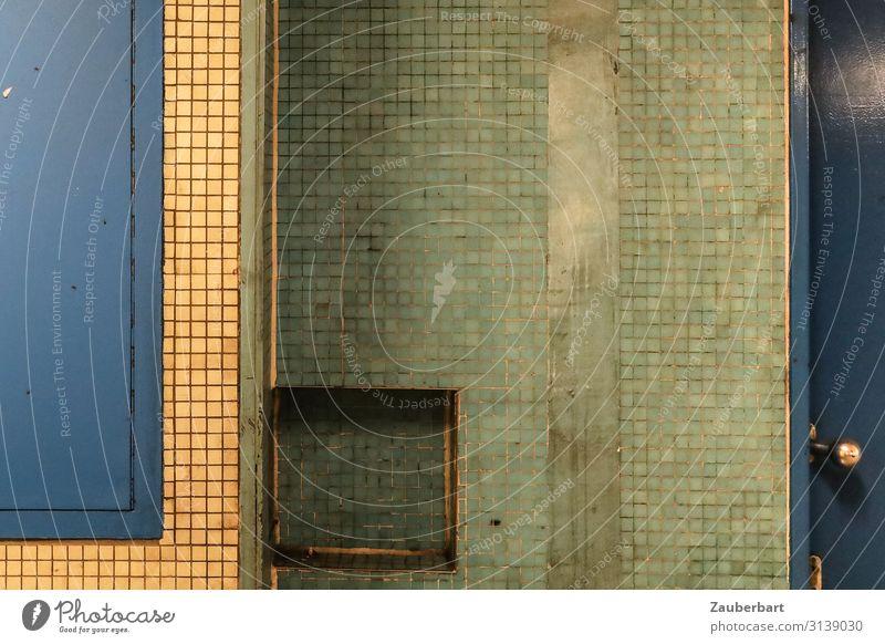 Fliese blau gelb grün Bauwerk Gebäude Mauer Wand Denken warten Originalität Stadt gewissenhaft Gelassenheit ruhig Ordnungsliebe Zufriedenheit Fliesen u. Kacheln