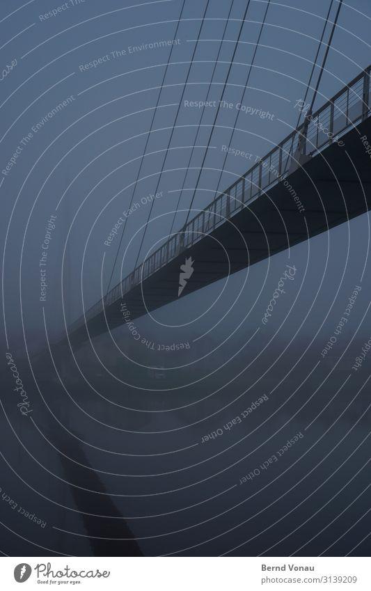 wohin? Wasser Herbst Nebel Flussufer Brücke dunkel blau Draht Geländer Reflexion & Spiegelung Perspektive Fluchtpunkt hoch leicht Wohnmobil Farbfoto