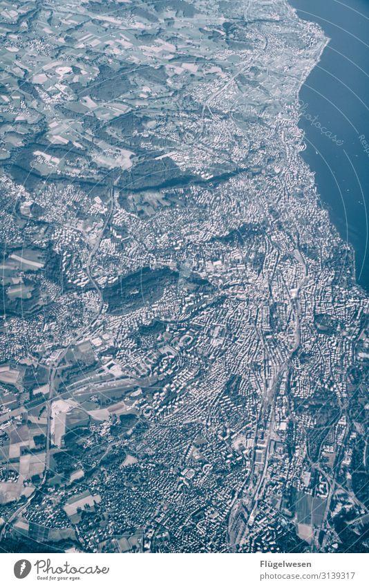 Luftbild Himmel Himmel (Jenseits) fliegen Luftverkehr Flugzeug Luftaufnahme Drohne Stadt Spanien Mallorca Ameise klein überblicken Überblick oben Miniatur