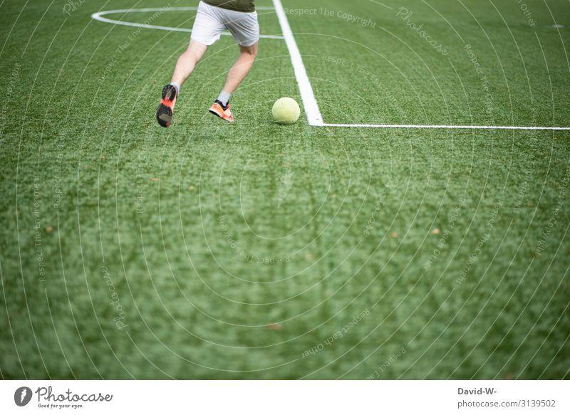 Fußballer Sport Fitness Sport-Training Ballsport Sportler Fußballplatz Mensch maskulin Junger Mann Jugendliche Erwachsene Leben 1 sportlich Ausdauer Linie