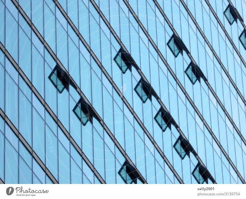 und immer gut lüften... Haus Hochhaus Bankgebäude Fassade Fenster Glasfassade Kippfenster bedrohlich hoch modern Stadt Platzangst Business Irritation