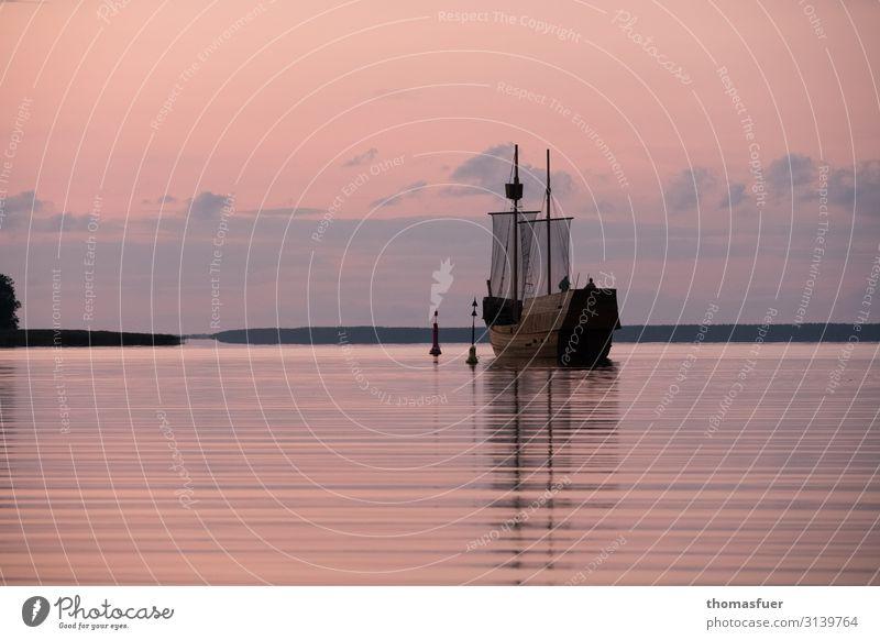 Windjammer, Traditionsschiff, Abendrot Ferien & Urlaub & Reisen Ausflug Abenteuer Ferne Sommer Meer Himmel Wolken Nachthimmel Horizont Sonnenaufgang