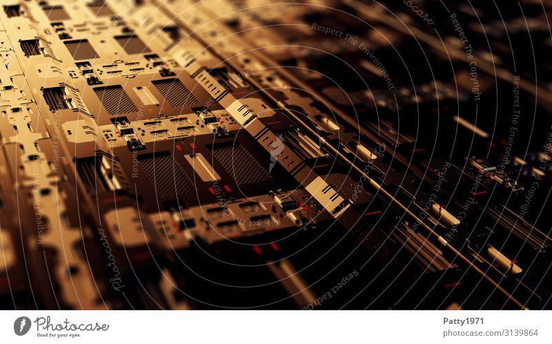 Tech Perspective - 3D Render Computer Hardware Technik & Technologie High-Tech Industrie dunkel eckig Wärme braun gold Design gleich komplex Perspektive