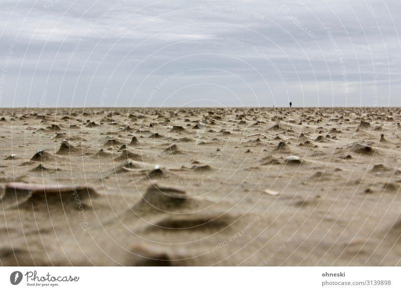 Person einsam am Strand Frau Mensch Mann Einsamkeit Ferne Erwachsene Religion & Glaube feminin Küste Zeit Sand gehen Horizont maskulin Trauer