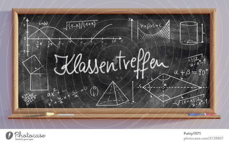 Klassentreffen - Schultafel - 3D Render Bildung Schule Tafel Mathematik Physik Zeichen Schriftzeichen Ziffern & Zahlen Gefühle Vorfreude Freundschaft lernen
