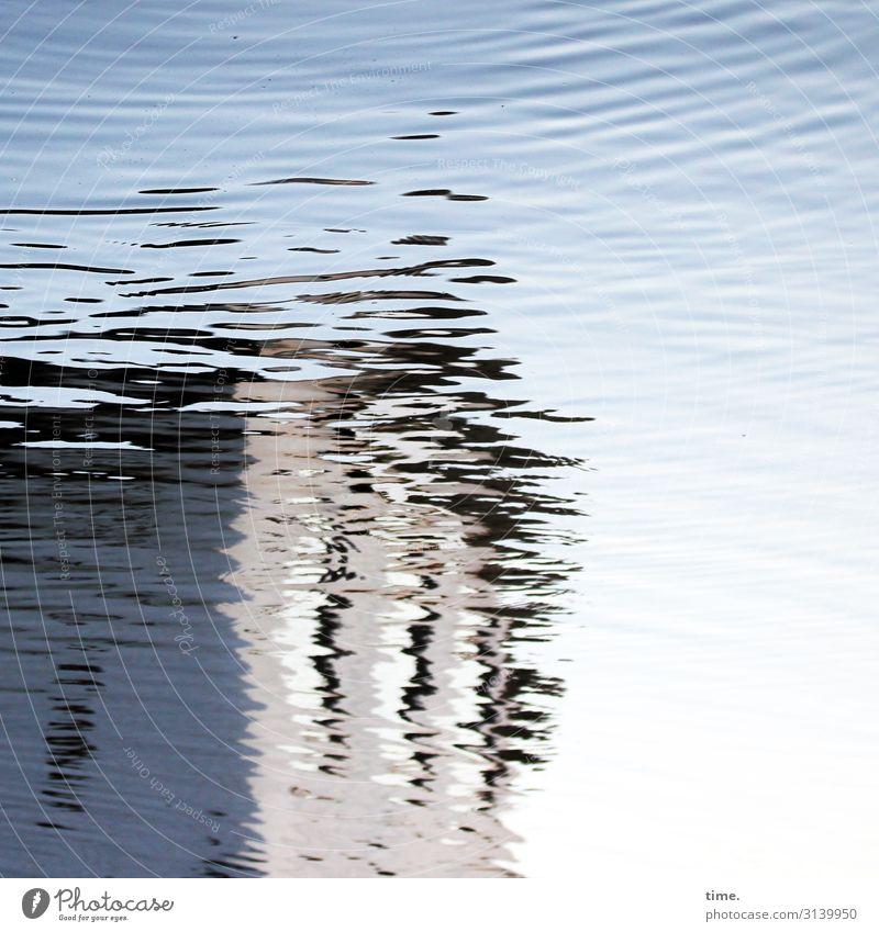 Wassergeist | unscharf Himmel Schönes Wetter Wellen Flussufer Haus Bauwerk Gebäude Linie Streifen leuchten Flüssigkeit maritim nass verrückt Leben Neugier