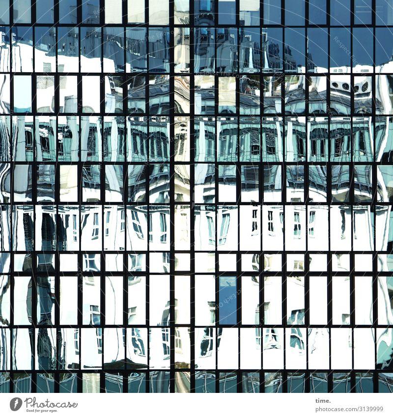 Nachbarschaften (VIII) Schönes Wetter Berlin Stadtzentrum Haus Hochhaus Bauwerk Gebäude Architektur Mauer Wand Fassade Sehenswürdigkeit Glas Linie Streifen