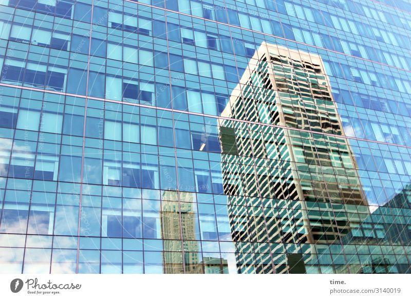 Nachbarschaften (XI) Himmel Schönes Wetter New York City Stadtzentrum Hochhaus Bauwerk Gebäude Architektur Mauer Wand Fassade Fenster Dach Glas Linie Streifen