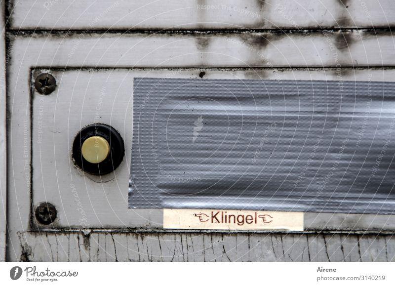 Ich klingel ja schon... Briefkasten Klingel Klebeband Isolierung (Material) Schriftzeichen Hinweisschild Warnschild alt dreckig hässlich kaputt grau