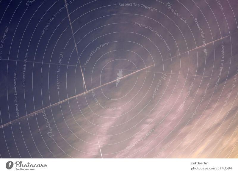 Flugzeuge am Himmel Himmel (Jenseits) Wolken Cirrus schleierwolke Wetter Meteorologie fliegen Luftverkehr Kondensstreifen Linie Strukturen & Formen Geometrie