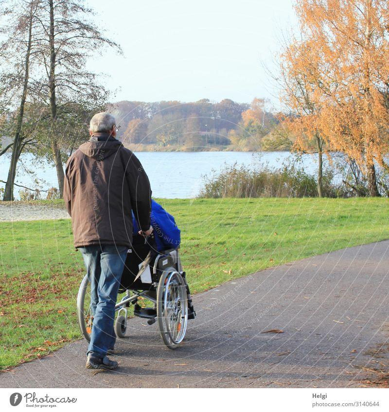 männlicher Senior schiebt eine Person in einem Rollstuhl auf einem Weg am See Krankheit Ausflug Mensch maskulin Mann Erwachsene Männlicher Senior