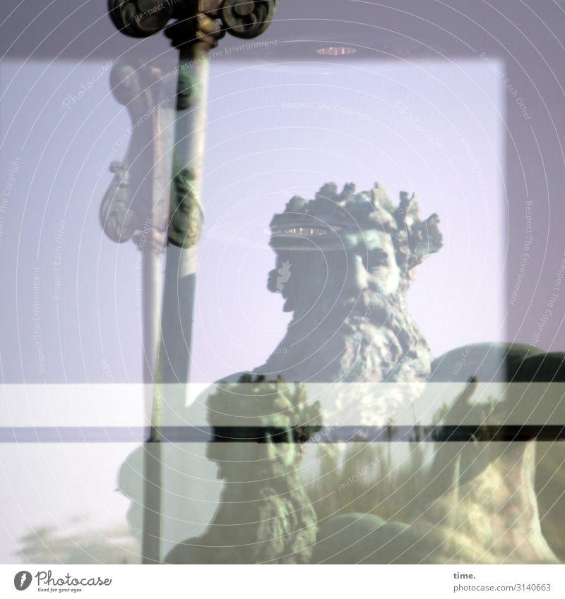 die Lorbeeren ruhen sich aus Handwerk maskulin Mann Erwachsene 1 Mensch Kunst Ausstellung Kunstwerk Skulptur Düsseldorf Fenster Vollbart Stein Glas Metall