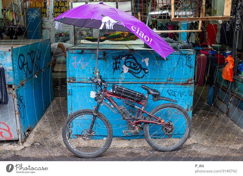 Ciao bella! Fahrradtour Sport Fahrradfahren Tel Aviv Israel Italien Verkehr Straße Schirm Bewegung Ferien & Urlaub & Reisen Sonnenschirm Mountainbike