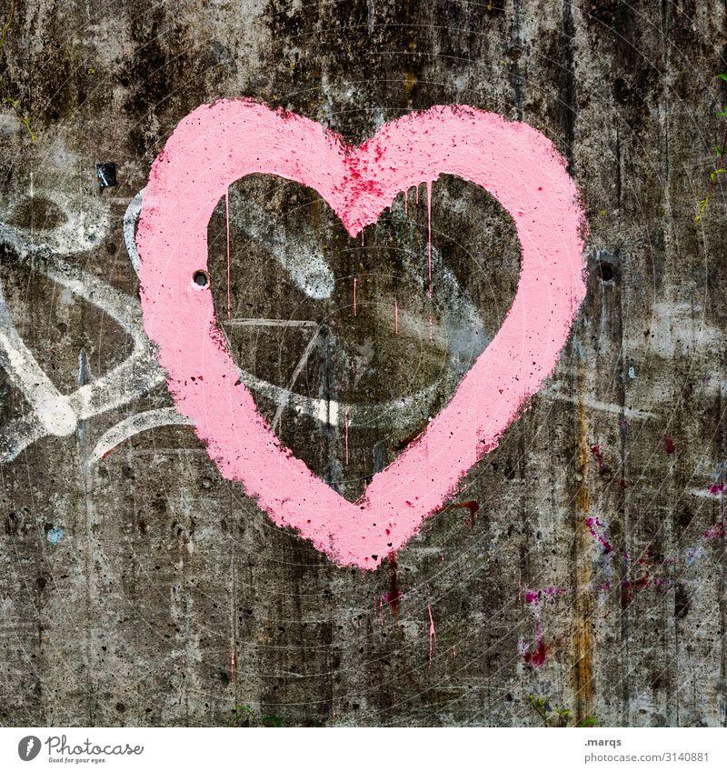 Herz Graffiti Wand Liebe Mauer grau rosa Romantik Beton Zeichen Partnerschaft trashig Valentinstag