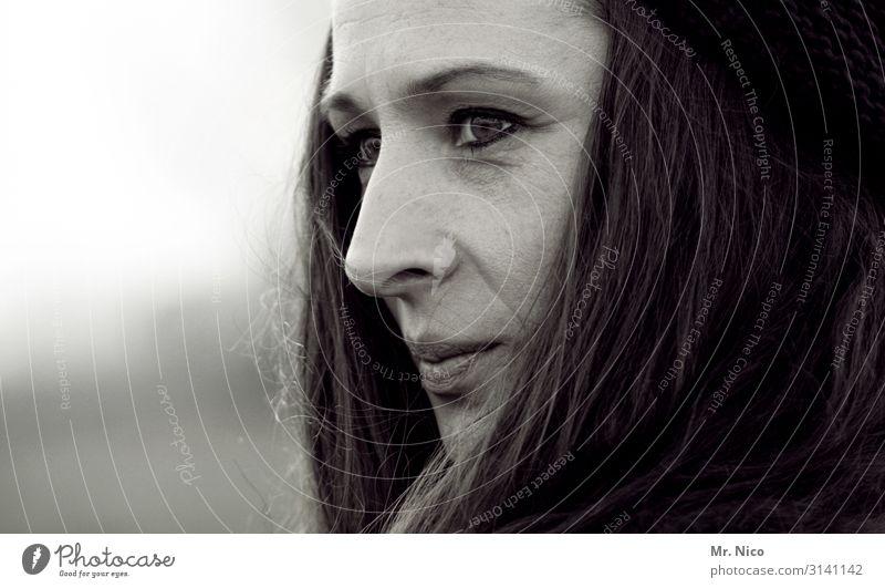 black beauty schön feminin Frau Erwachsene Kopf Haare & Frisuren Gesicht Auge Nase Mund 1 Mensch schwarzhaarig langhaarig beobachten authentisch außergewöhnlich