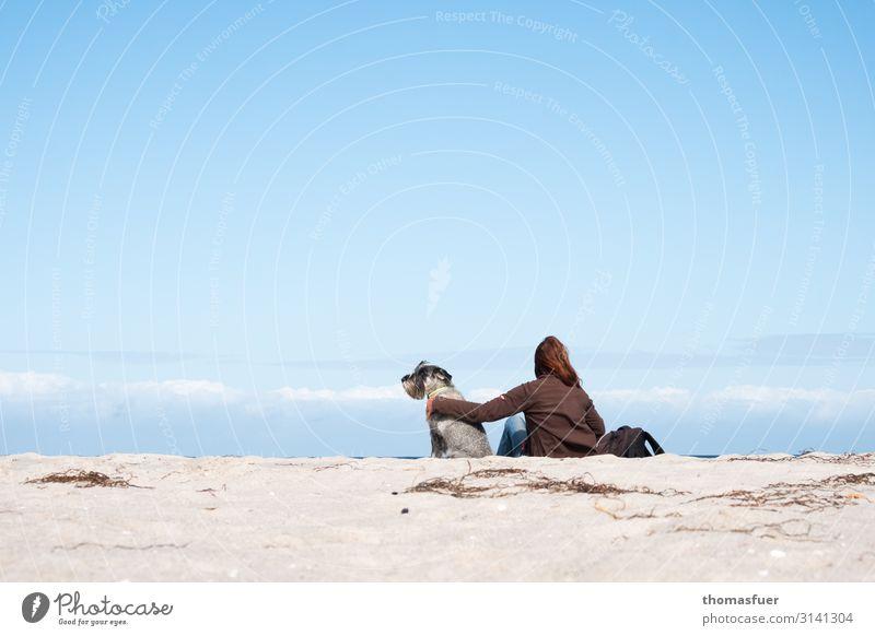 Frau mit Hund am Strand in die Ferne schauend Ferien & Urlaub & Reisen Ausflug Sommer Sommerurlaub Meer Mensch feminin Erwachsene 1 Landschaft