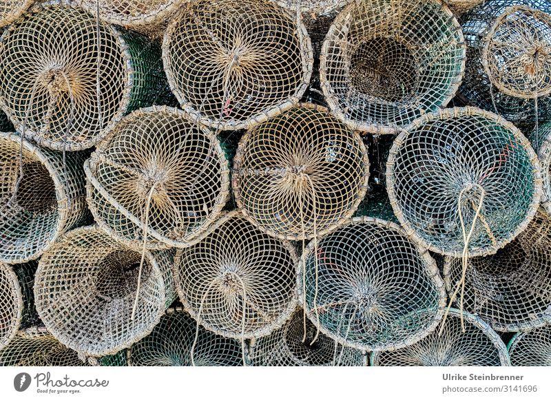 Fischreusen aufeinandergestapelt Seil geflochten Fischernetz Netz Fischfang Fischerei Fischwirtschaft Sardinien Muster Farbfoto Außenaufnahme