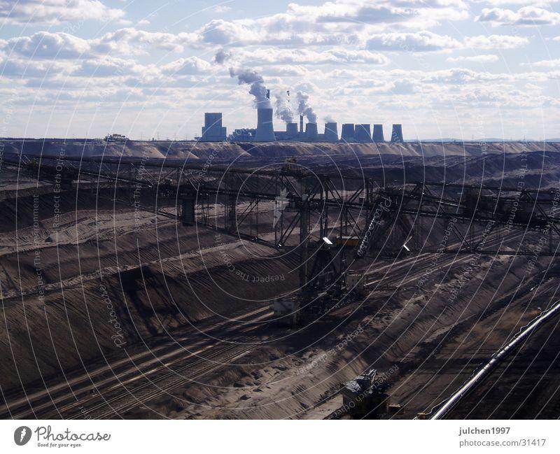 Kohlelandschaft Ferne Sand Landschaft Industrie Energiewirtschaft Elektrizität Technik & Technologie Mond Maschine Produktion Stromkraftwerke Bergbau
