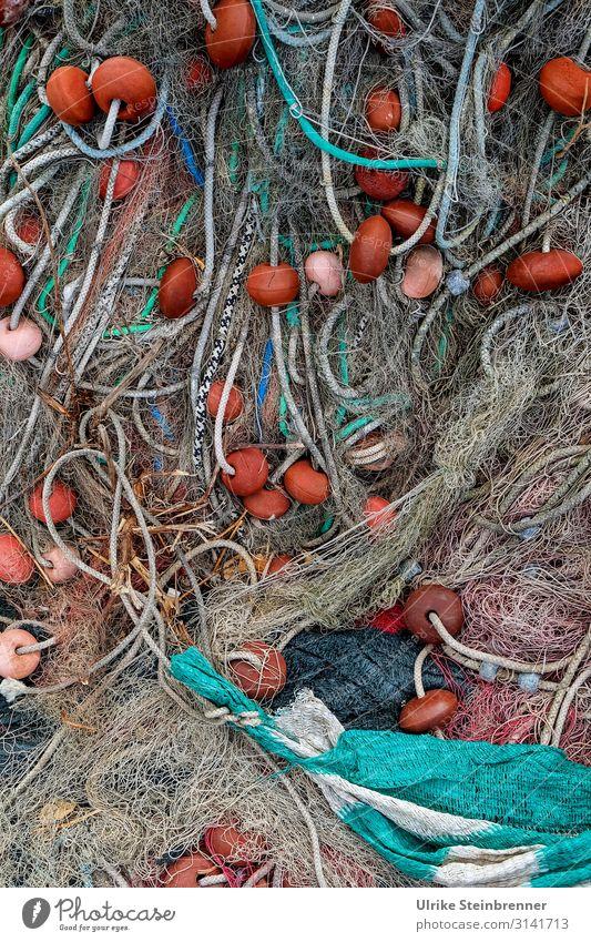 Fischernetze wild durcheinander Seil geflochten Netz Fischfang Fischerei Fischwirtschaft Sardinien Muster Farbfoto Außenaufnahme Fischereiwirtschaft